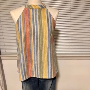 Adorable W5 Stripe Top NWOT Size L Button Back